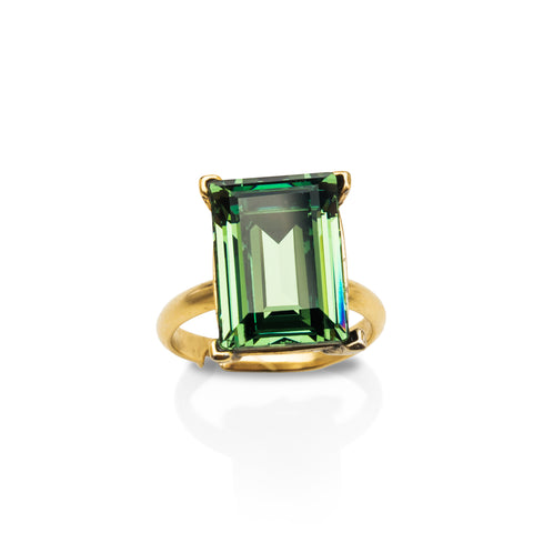 Erinite Green Emerald-Cut Gem Ring