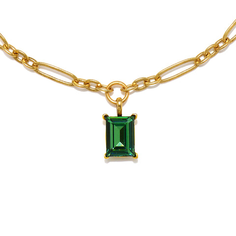 Erinite Green Emerald-Cut Gem Necklace
