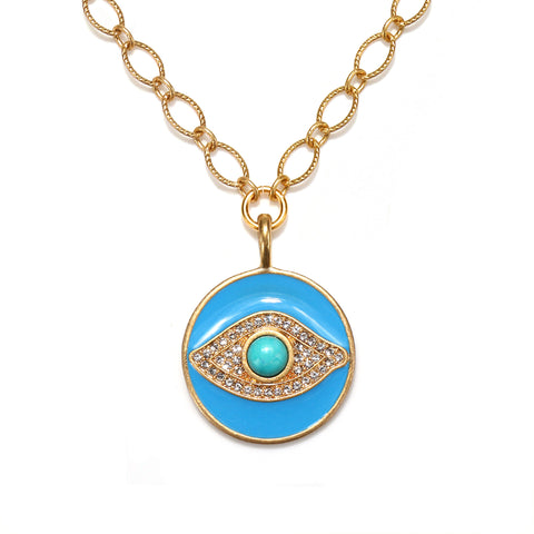 Evil Eye Enamel Talisman Necklace