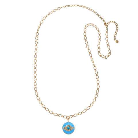 Evil Eye Long Enamel Talisman Necklace