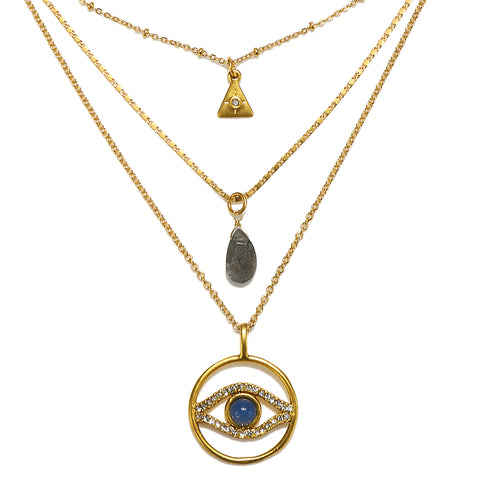 Evil Eye Short 3-Strand Talisman Necklace