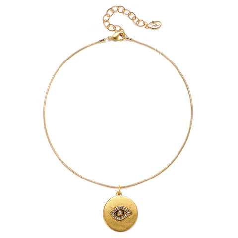Evil Eye Talisman Choker Necklace - Snake Chain
