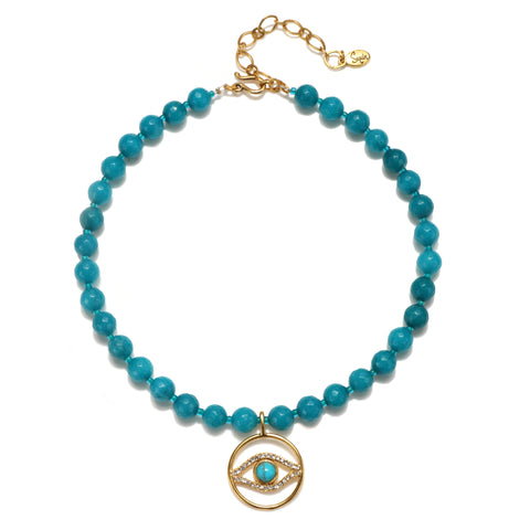 Evil Eye Turquoise Color Karma Choker Necklace