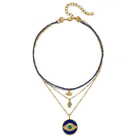 Evil Eye Semi-Precious 3-Layer Talisman Necklace