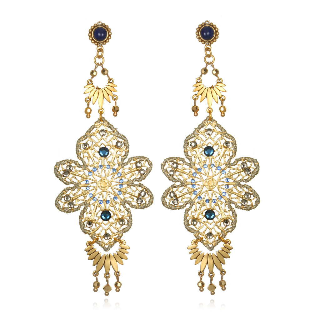 Filigree statement chandelier earrings sequin aloadofball Choice Image