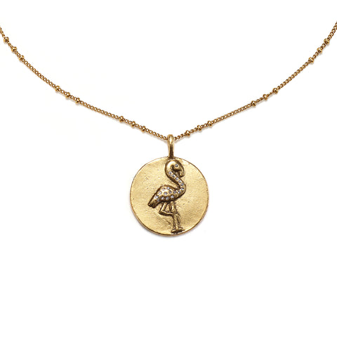 Flamingo Medallion Charm Necklace