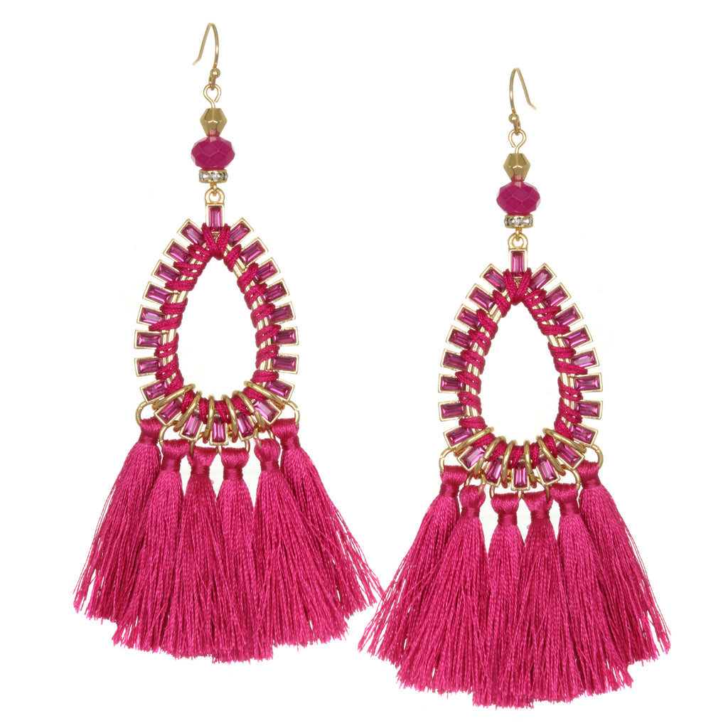amishi earrings fuschia london circa hoop crystal product