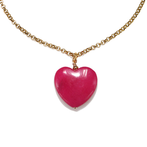 Fuschia Stone Heart Choker Necklace