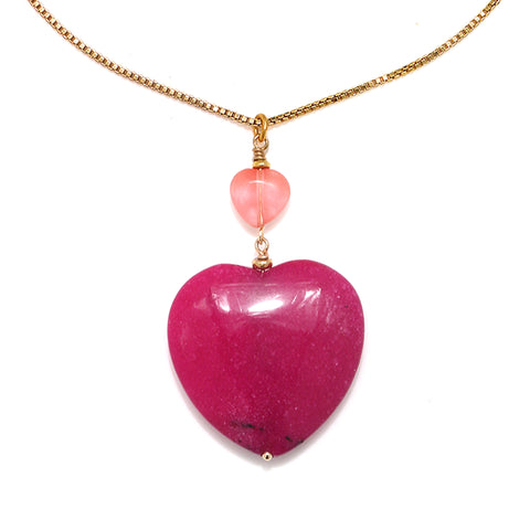 Fuschia Stone Heart Pendant Necklace
