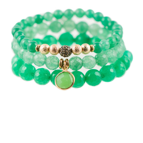 Green Color Karma Bracelet Set