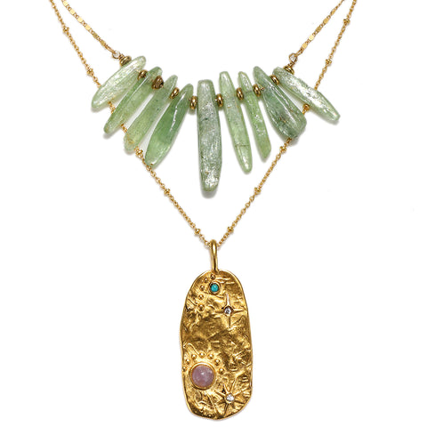 Galaxy Green Kyanite Crystal Layered Necklace