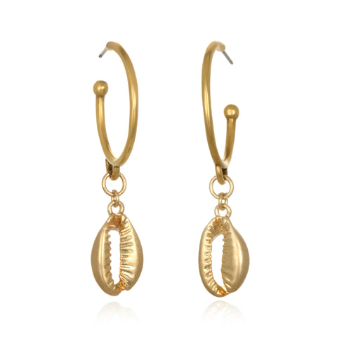 Golden Cowrie Shell Drop Earrings