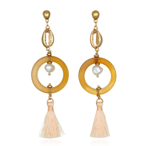 Golden Cowrie Agate Tassel Earrings