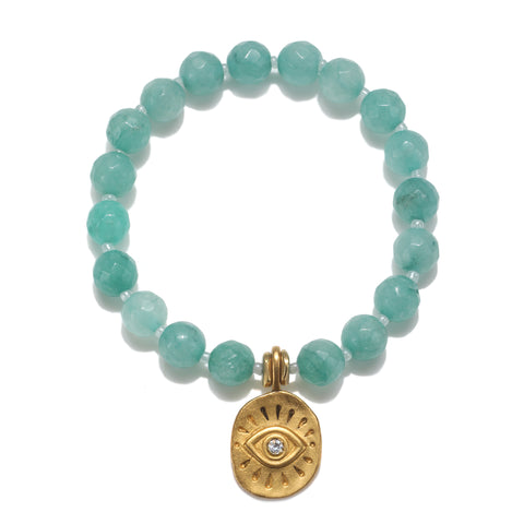 Golden Eye Mint Color Karma Bracelet