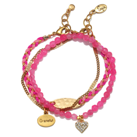 """Grateful"" Pink Harmony Bracelet Set"