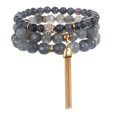 Grey Color Karma Bracelet Set