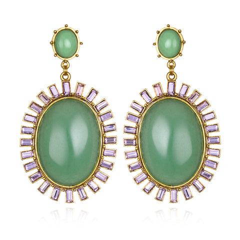 Hall of Mirrors Earrings - Green Adventurine