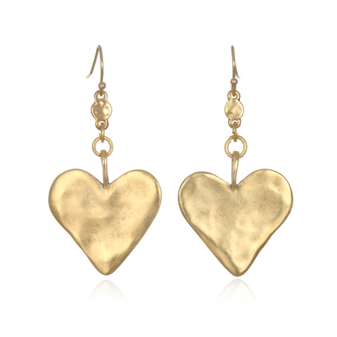 Hammered Heart Drop Earrings