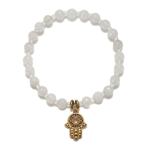 Hamsa White Color Karma Bracelet