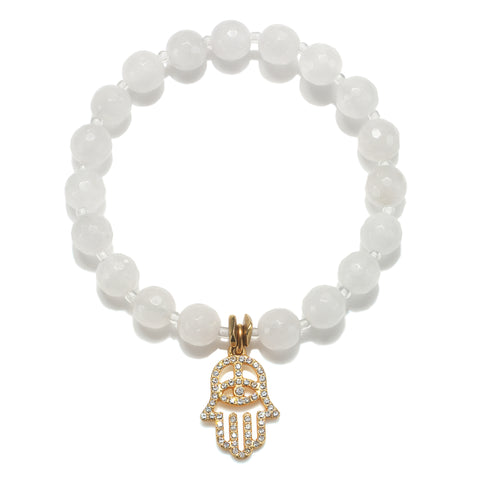 Open Pave Hamsa White Color Karma Bracelet