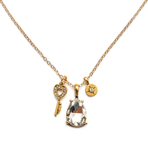 Heart Key Charm & Crystal Gem Necklace