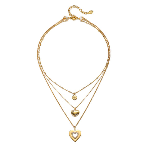 Heart of Gold 3-Strand Talisman Necklace