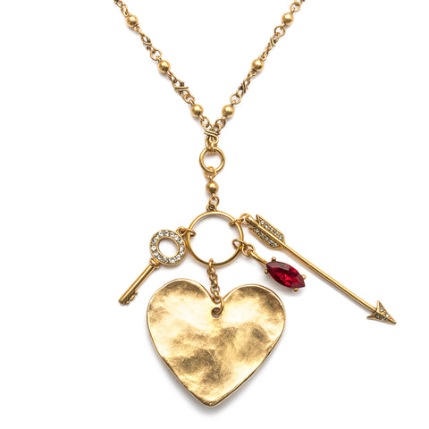 Heart Statement Charm Pendant Necklace