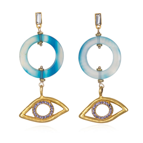 Into The Blue Evil Eye Earrings