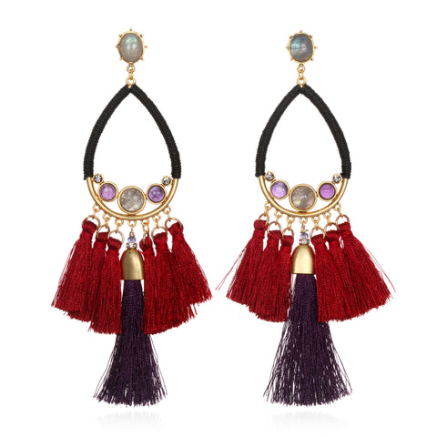 Jewel Tone Statement Tassel Earrings