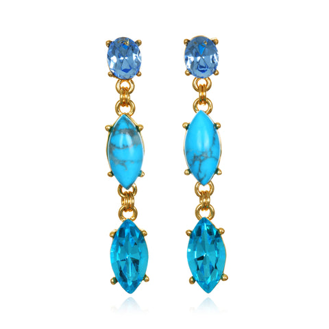 Jeweled Turquoise Drop Earrings