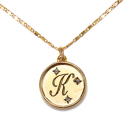 """K"" Round Script Initial Necklace"