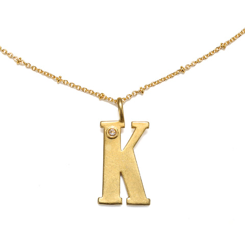 """K"" Block Initial Talisman Necklace"