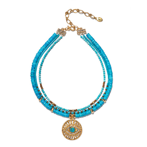 Karina Turquoise & Evil Eye Necklace