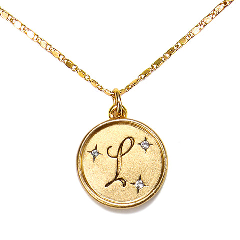 """L"" Round Script Initial Necklace"