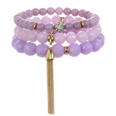 Lavender Color Karma Bracelet Set