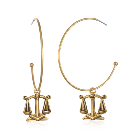Libra Zodiac Hoop Earrings