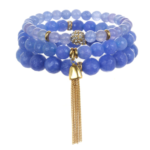 Light Blue Color Karma Bracelet Set