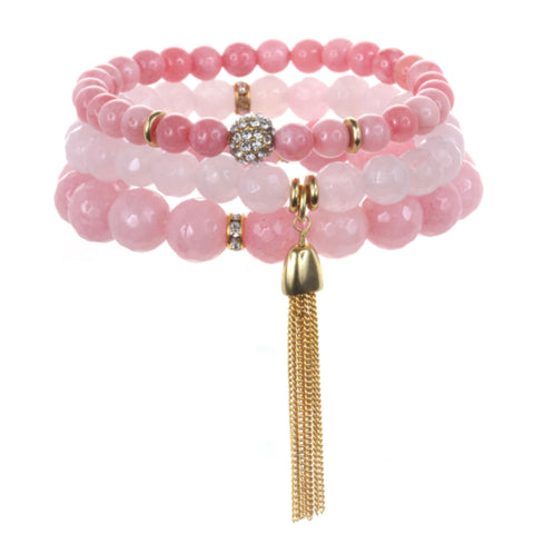 Light Pink Color Karma Bracelet Set