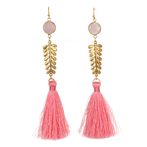 Light Pink Palm Frond Tassel Earrings