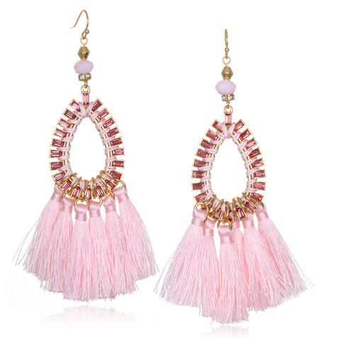 Light Pink Statement Tassel Earrings