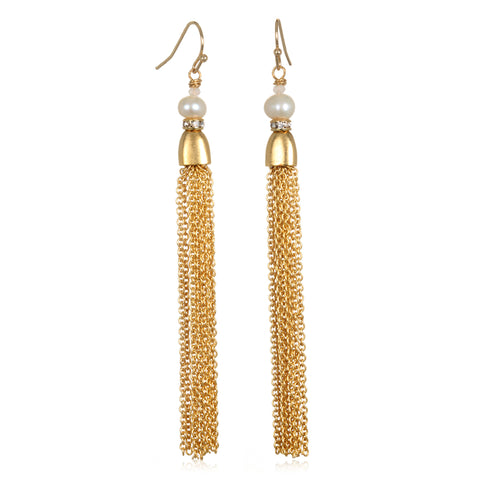 Lilia Pearl Tassel Earrings