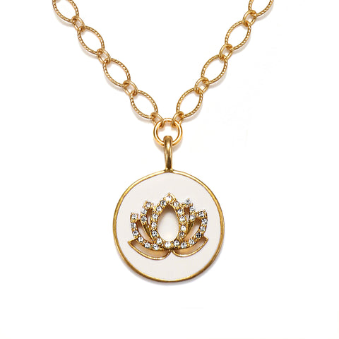 Lotus Enamel Talisman Necklace