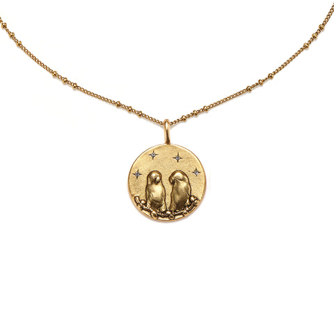 Love Birds Medallion Charm Necklace