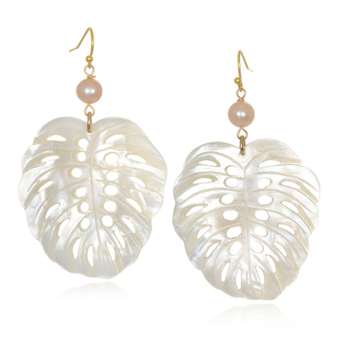 Mother-of-Pearl Palm Leaf Earrings