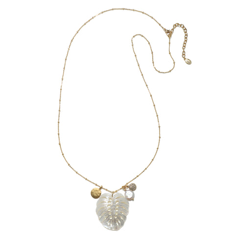 Mother-of-Pearl Palm Leaf & Tropical Elements Long Necklace