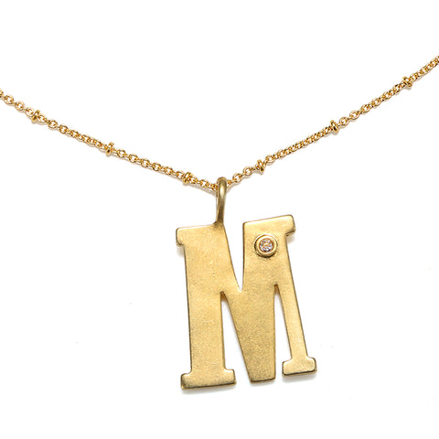 """M"" Block Initial Talisman Necklace"