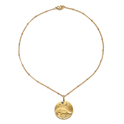 Mama Elephant & Moon Talisman Medallion Necklace