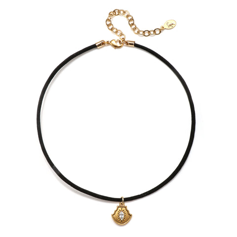 Mini Evil Eye Talisman Choker Necklace - Suede Cord