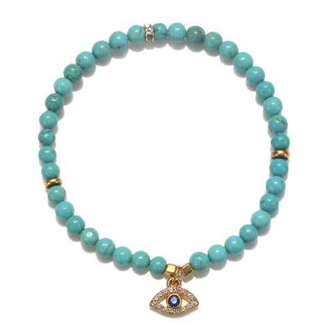 Mini Evil Eye Turquoise Color Karma Bracelet