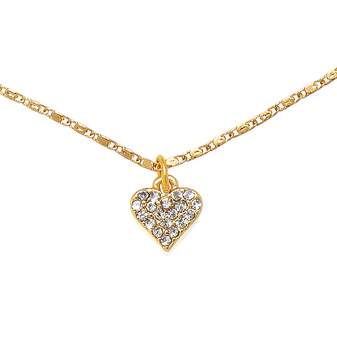 Mini Pave Heart Choker Necklace